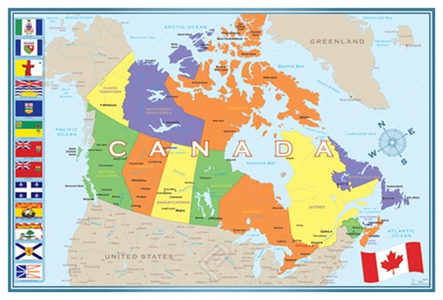 Modern Map Of Canada Giclee Print On Arch Paper At