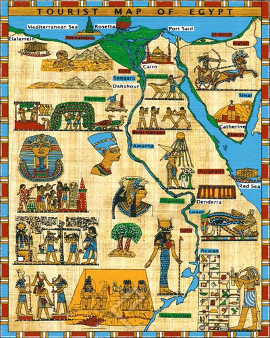 tourist map of egypt canvas -